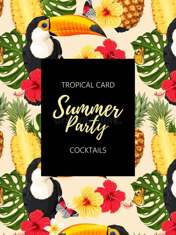 Tropische de zomerkaart met toekannen en bloemen stock illustratie