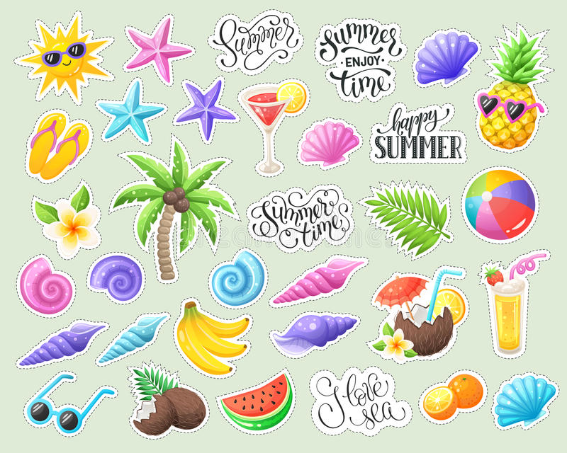 Tropische de zomerstickers stock illustratie