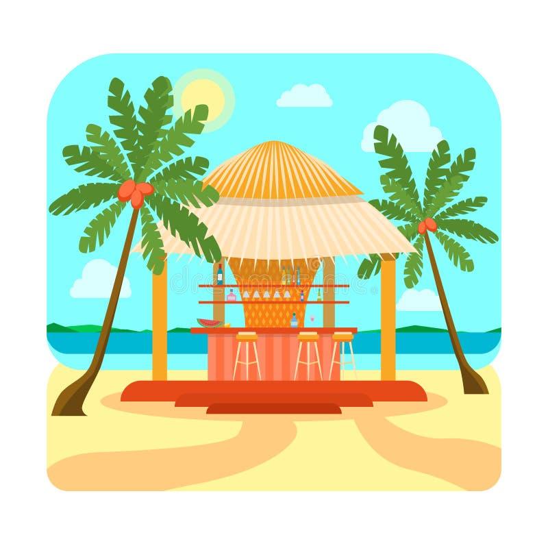Tropische de Zomervakantie van de Strandbar of Vakantie Vector royalty-vrije illustratie