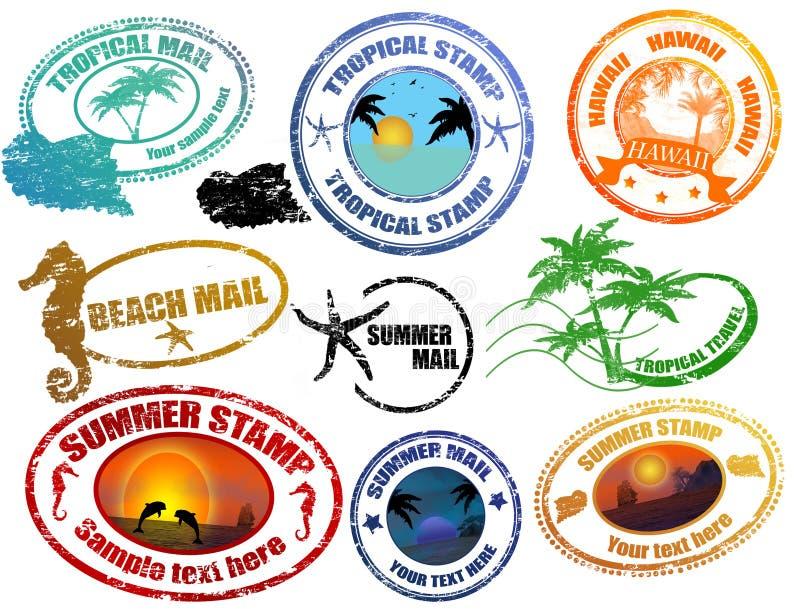 Tropische de zomerzegels vector illustratie