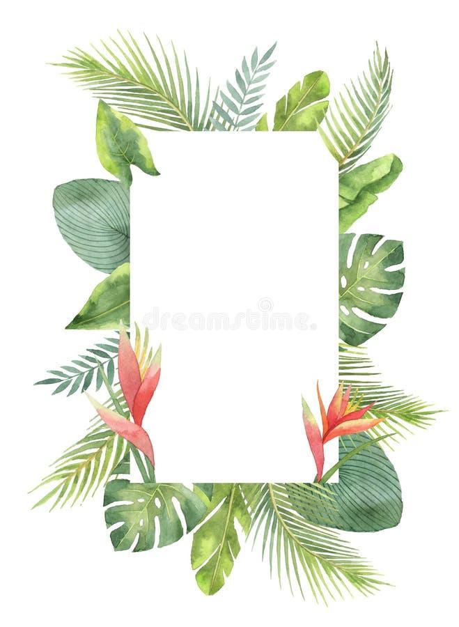 Tropische die bladeren en de takken van het waterverf de rechthoekige kader op witte achtergrond worden geïsoleerd vector illustratie