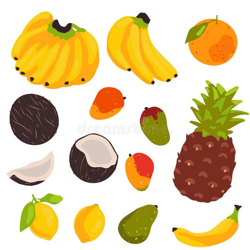 Tropische die fruitinzameling op witte achtergrond wordt geïsoleerd stock illustratie