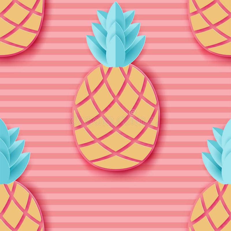 Tropische document ananas Het fruit naadloos patroon van de de zomer exotisch wildernis stock illustratie