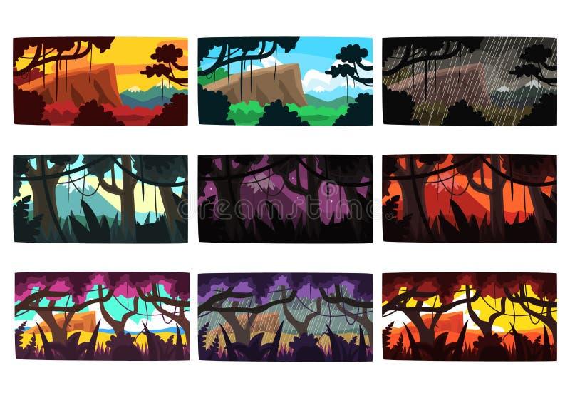 Tropische Dschungellandschaften stellten in verschiedene verschiedene Farben und Tageszeiten ein vektor abbildung