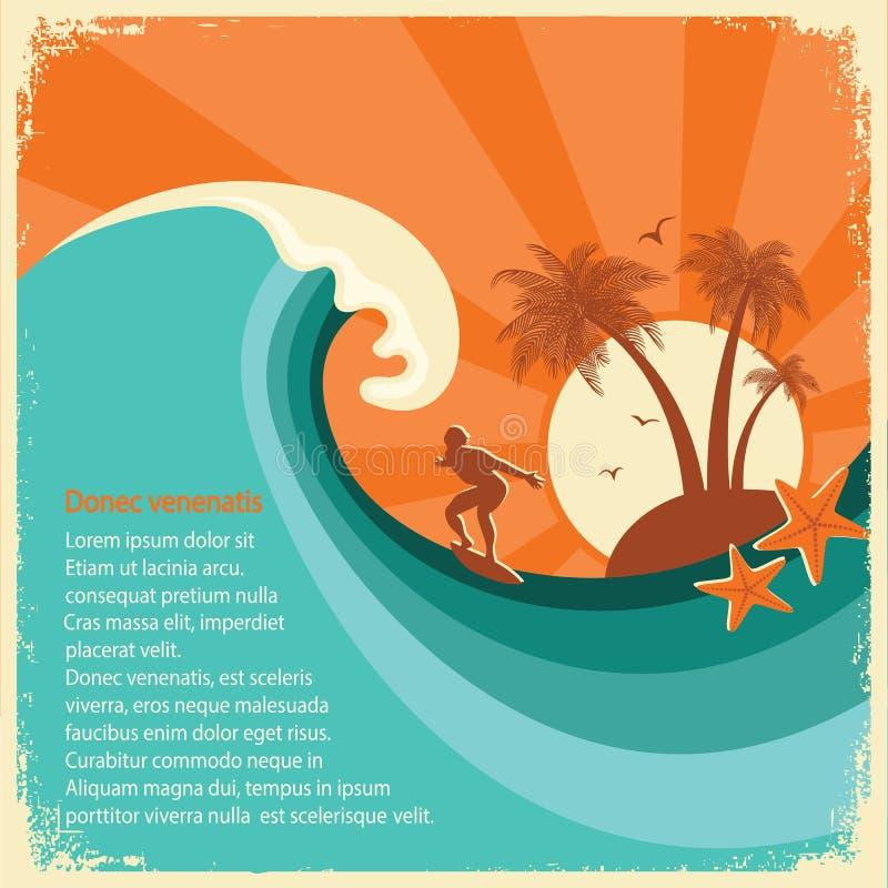 Tropische eiland van de surfer en het overzeese grote golf op oud document