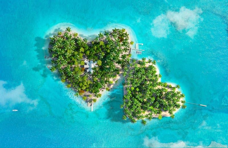 Download Tropische Eilanden In De Vorm Van Twee Harten Stock Illustratie - Illustratie bestaande uit ertsader, kust: 107707227