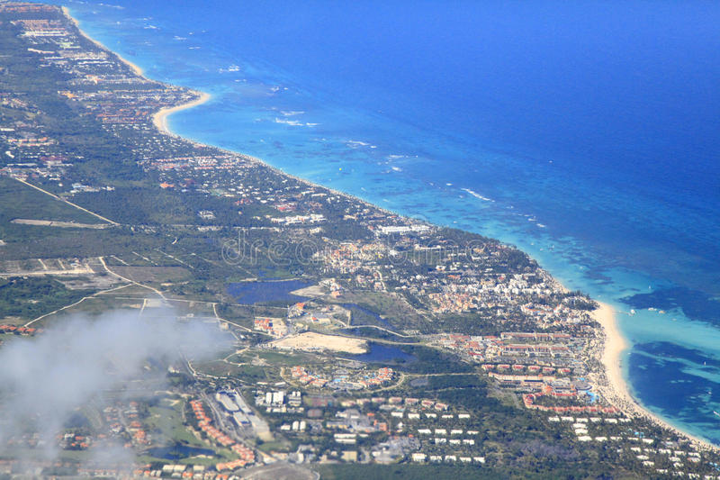 Tropische Erholungsorte Punta Cana, Vogelperspektive lizenzfreie stockbilder