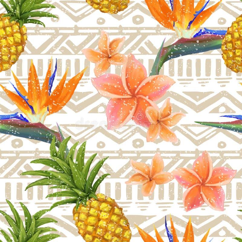 Tropische exotische bloemen en ananas op naadloos royalty-vrije illustratie