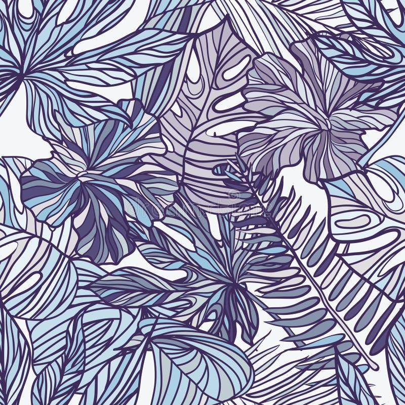 Tropische exotische bloemen en installaties met groene bladeren van palm royalty-vrije illustratie
