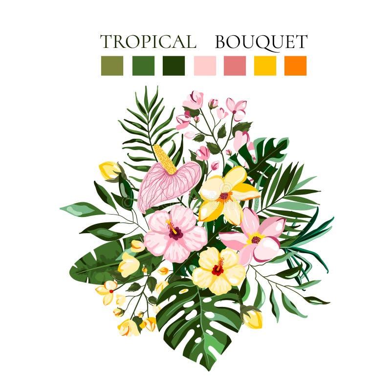Tropische exotische Blumenblumenstr?u?e mit Frangipanihibiscus Callagr?n monstera Palmbl?ttern vektor abbildung