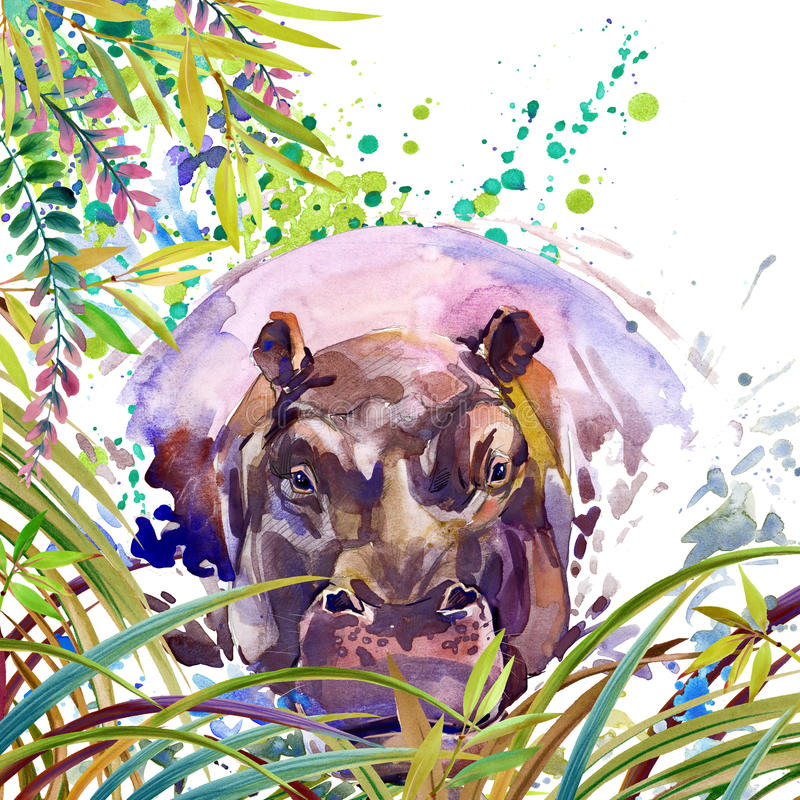 Tropische exotische bos, groene bladeren, het wild, nijlpaard, waterverfillustratie waterverf ongebruikelijke exotische aard als  vector illustratie