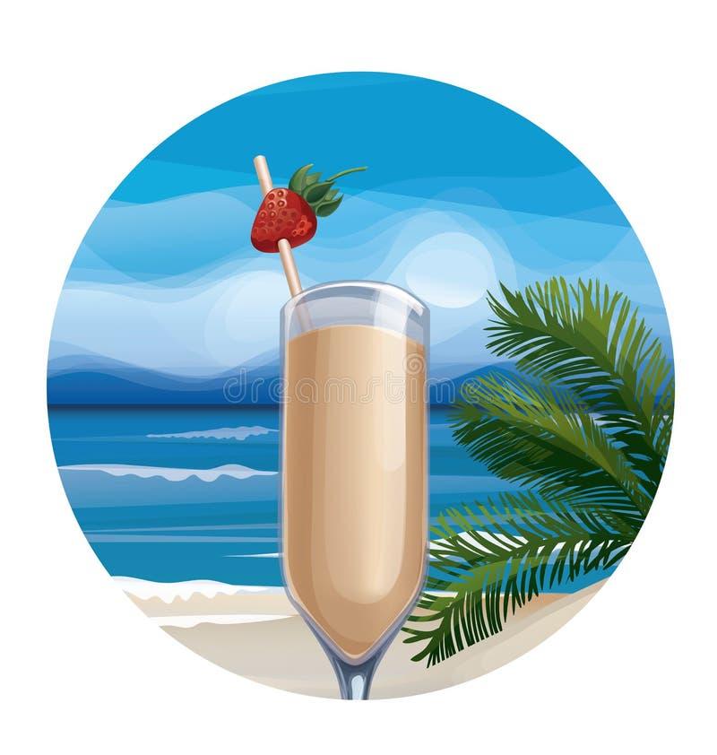 Tropische exotische cocktail stock illustratie