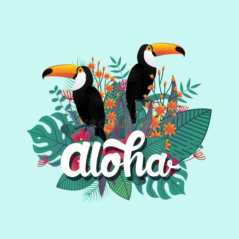Tropische Fahnendesignschablone Tropisches Blatt und Tukanvögel stock abbildung
