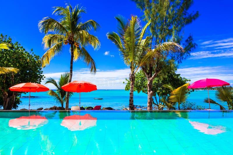Tropische Ferien - Türkisschwimmenpool mit Seeansicht mauritius stockbilder