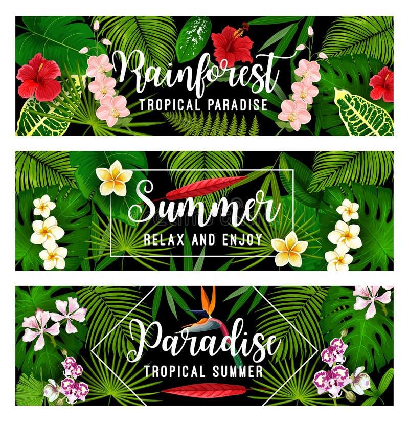 Tropische Ferien- und Feiertagsfahne des Sommers vektor abbildung