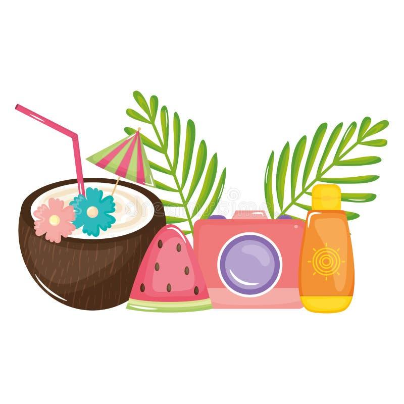 Tropische fotografische kokosnotencocktail en camera stock illustratie
