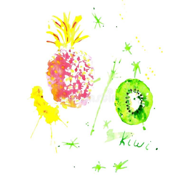 Tropische Früchte des Aquarells, bunte handgemalte Ananas und Kiwis mit Farbe spritzt auf wite Hintergrund lizenzfreie abbildung