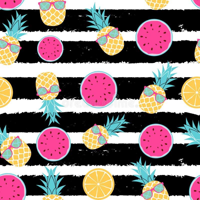 Tropische Frucht Ananas, Wassermelone und orange nahtloser Musterhintergrundentwurf Auch im corel abgehobenen Betrag lizenzfreie abbildung
