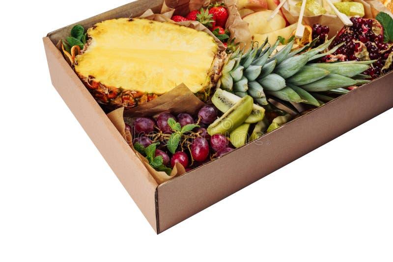 Tropische Frucht-Mischungs-Hintergrund-Catering stockfotos
