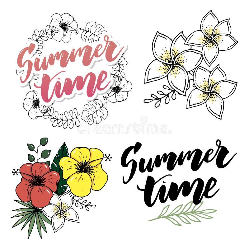 Tropische Geplaatste Bloemen en Bladeren Exotische Plumeria-Bloem Bloemenkronen en Banners Vector stock illustratie