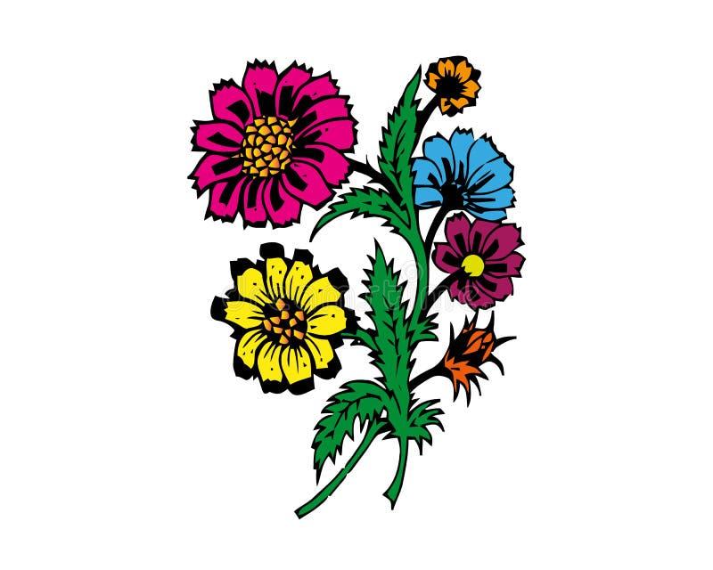 Tropische geplaatste bloemen Vectorontwerp ge?soleerde elementen op de witte achtergrond vector illustratie