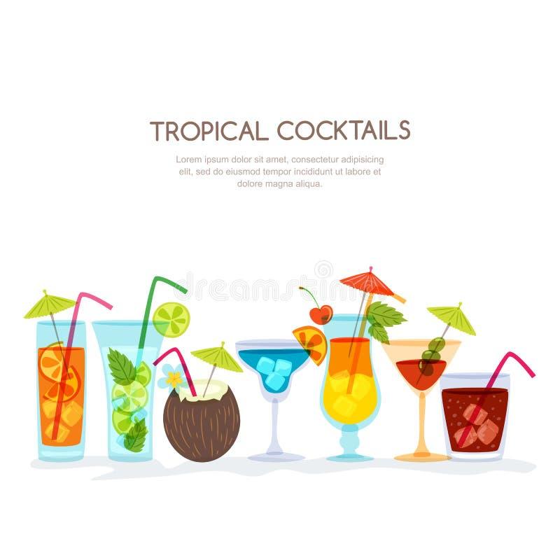 Tropische geplaatste cocktails, hand getrokken illustratie Divers cocktailglas met dranken vector illustratie