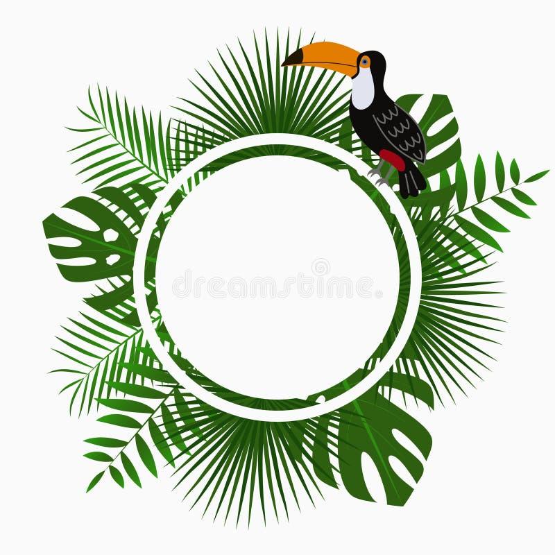 Tropische gerundete Karten-, Plakat- oder Fahnenschablone mit DschungelPalme verlässt und Tukanvogel Exotischer Hintergrund Vekto stock abbildung