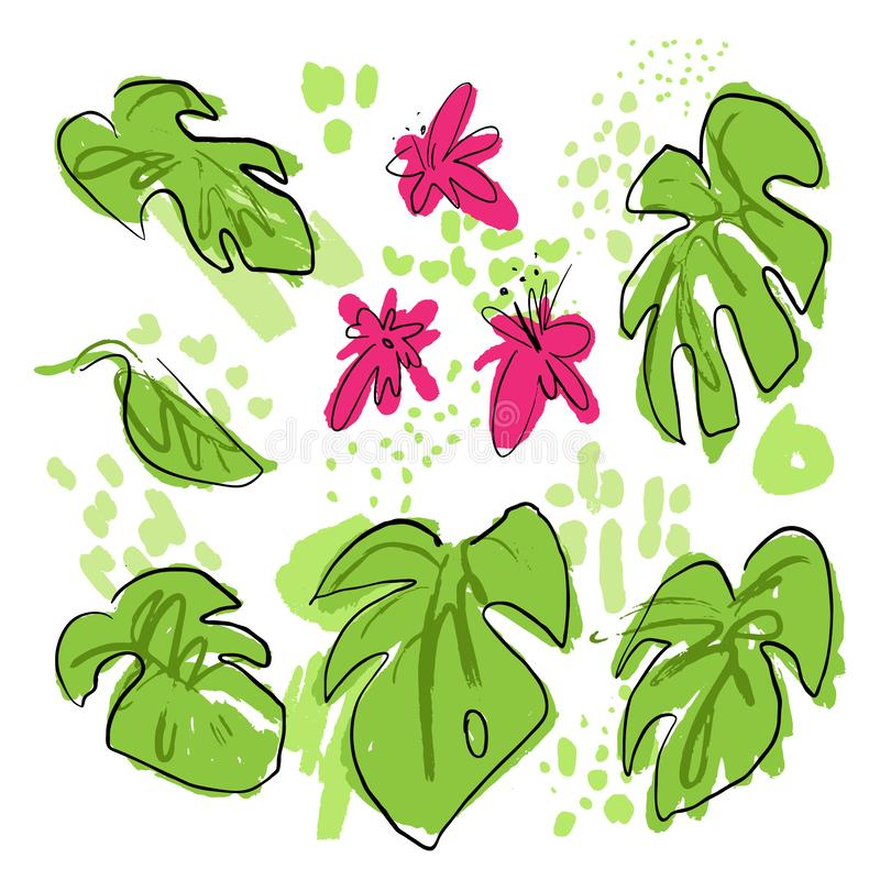 Tropische handtekenvectorverzameling met monstera-bladeren, palmblad, roze tropische bloemen, gemengd met verfdruppels en royalty-vrije illustratie
