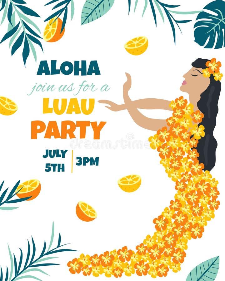 Tropische Hawaiiaanse Affiche met een meisje Partijmalplaatje Uitnodiging, banner, kaart stock illustratie