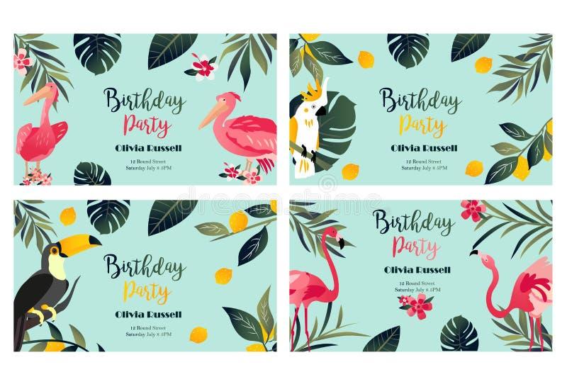4 tropische Hawaiiaanse Affiches met toekan, papegaai, pelikaan en flamingo vector illustratie