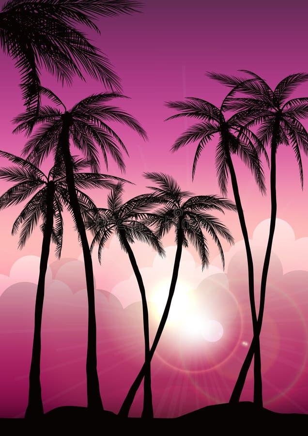 Tropische Hintergründe des Sommers stellten mit Palmen, Himmel und Sonnenuntergang ein Sommerplakatplakatflieger-Einladungskarte  stockbild