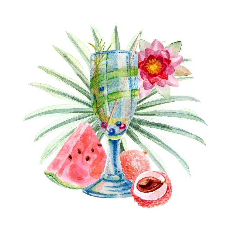 Tropische Illustration des Aquarells mit Sommercocktail, -früchten und -blumen vektor abbildung