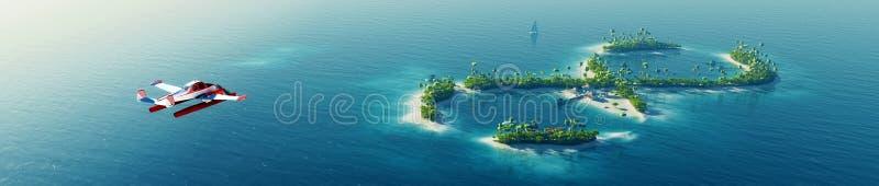 Tropische Insel des Sommers Kleines Seeflugzeug, das zur privaten Paradiestropeninsel in Form von Unendlichkeitszeichen fliegt lizenzfreie abbildung