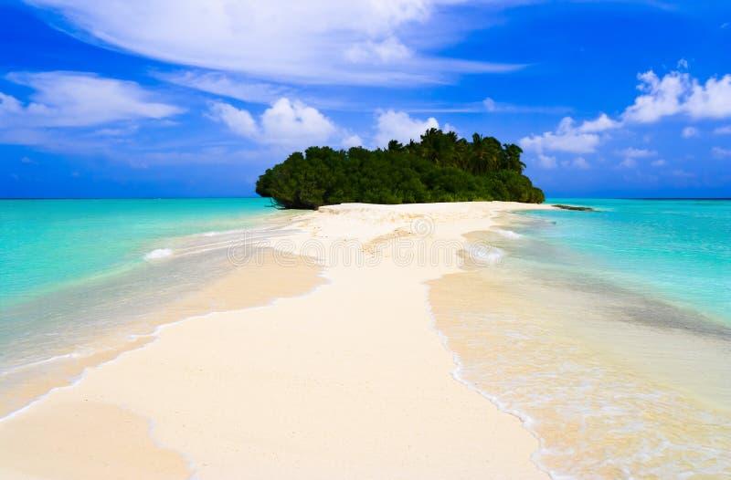 Tropische Insel und Sandquerneigung lizenzfreies stockfoto