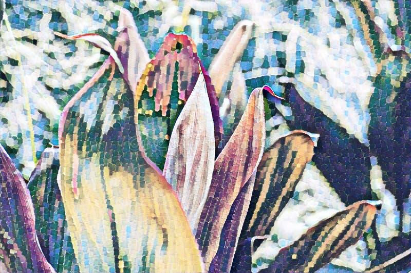 Tropische installatie met roze bloesem De exotische aard verdween digitale illustratie langzaam Tropische tuin bloeiende installa vector illustratie