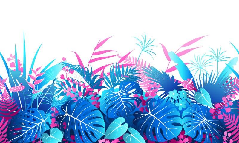 Tropische Installaties Kleurrijke Naadloze Grens vector illustratie