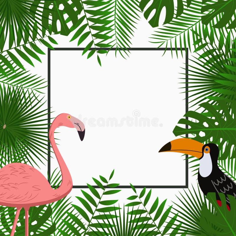 Tropische Karten-, Plakat- oder Fahnenschablone mit DschungelPalme verlässt, rosa Flamingo und Tukanvogel Exotischer Hintergrund  lizenzfreie abbildung