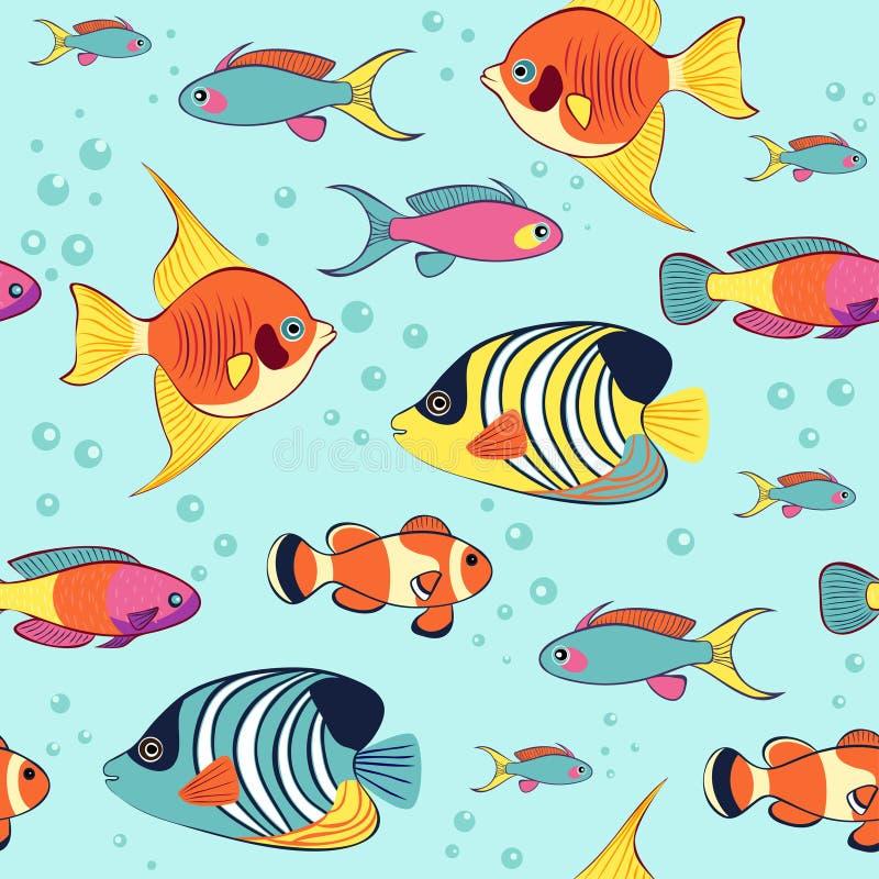 Tropische kleurrijke zeeëngel en clownfish naadloos patroon royalty-vrije illustratie