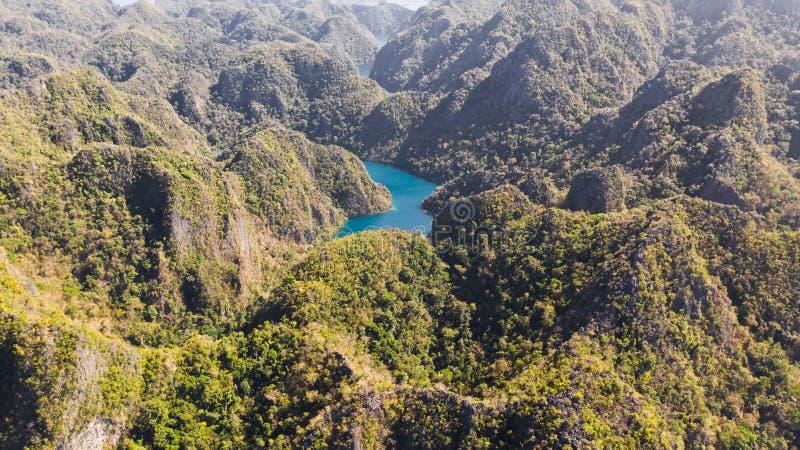 Tropische Lagune der Vogelperspektive, Meer, Strand Tropische Insel Busuanga, Palawan, Philippinen lizenzfreies stockfoto