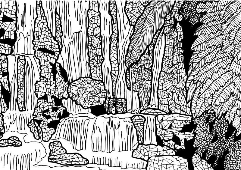 Tropische Landschaft mit Wasserfall Hand gezeichnete Abbildung stock abbildung