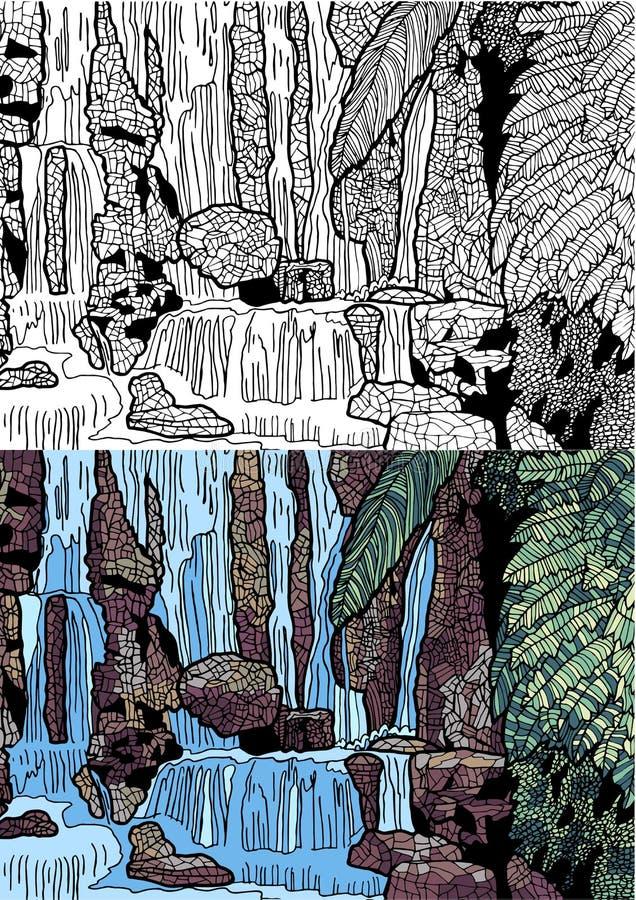 Tropische Landschaft mit Wasserfall in zwei varients lizenzfreie abbildung