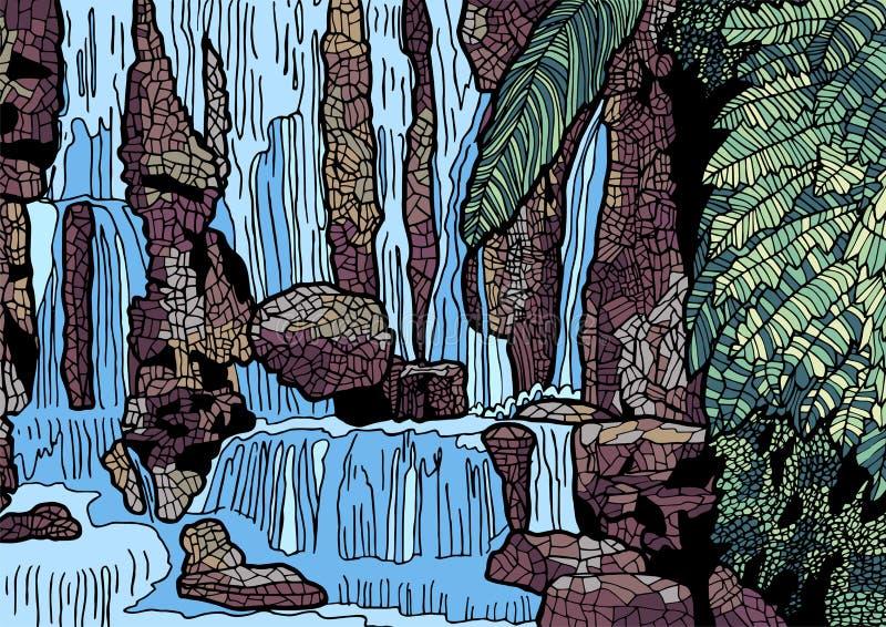 Tropische Landschaft mit Wasserfallillustration lizenzfreie abbildung