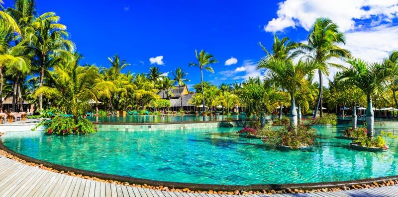 Tropische Luxusferien in Mauritius-Insel stockfotografie