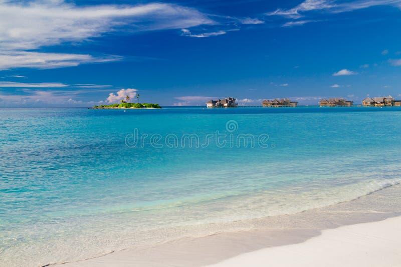 Tropische Malediven-Insel mit KokosnussPalme, Holzbrücke und Wasserlandhaus Luxuslandschaft stockfoto