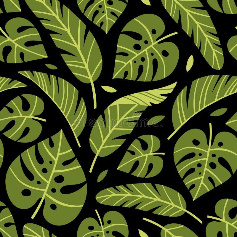 Tropische monstera und Bananenblätter des Vektors auf schwarzem Hintergrund stock abbildung