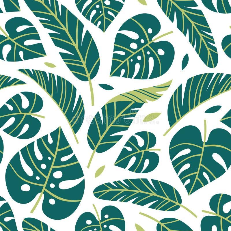 Tropische monstera und Bananenblätter des Vektors auf weißem Hintergrund vektor abbildung