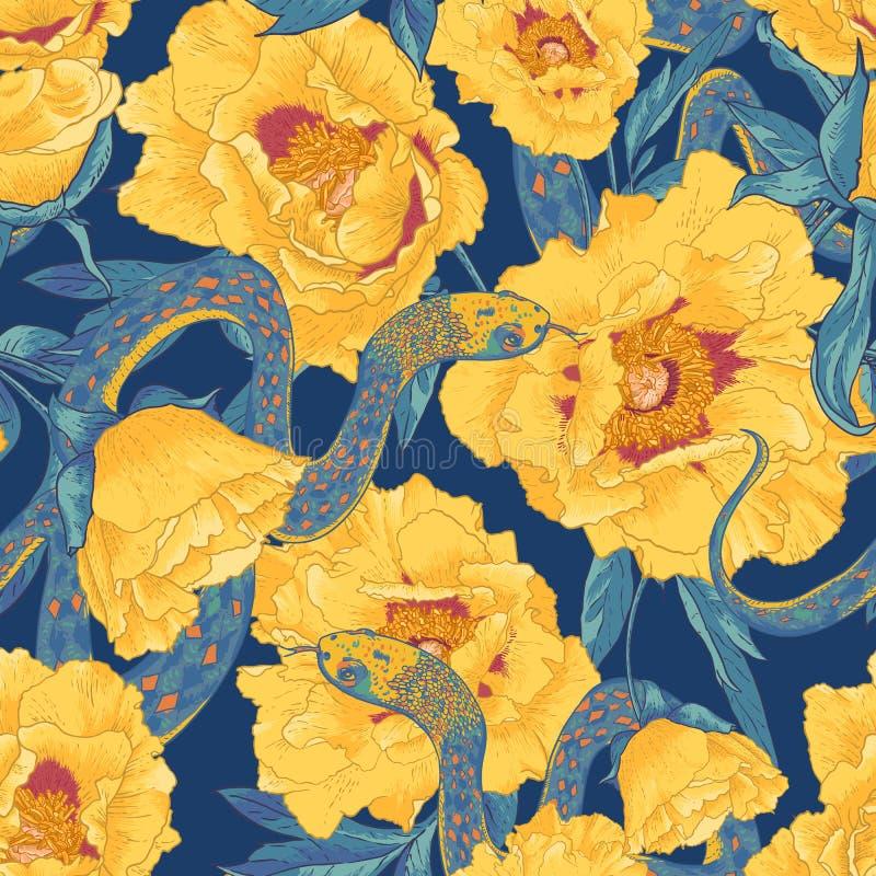 Tropische naadloze bloemachtergrond met slangen stock illustratie