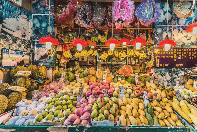 Tropische Obstmarktstand Damm-Bucht Hong Kong stockbild