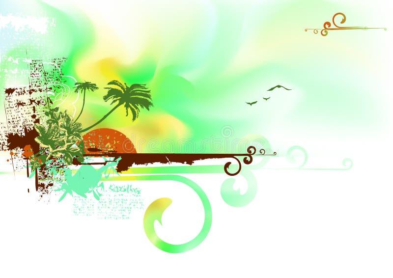Tropische oceaankust vector illustratie