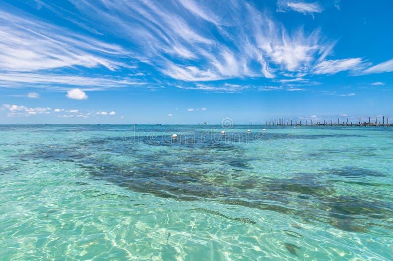Tropische overzees in Isla Mujeres, Mexico royalty-vrije stock afbeelding